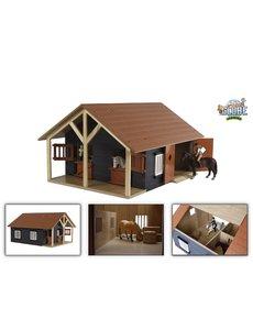 Kids Globe Paardenstal hout met 2 boxen en berging (geschikt voor Schleich)1:24 - KG610167