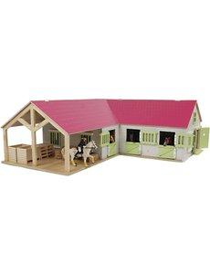 Kids Globe Paardenhoekstal met 3 boxen en berging roze (geschikt voor Schleich) - KG610210