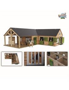 Kids Globe Paardenhoekstal met 3 boxen en berging (geschikt voor Schleich) - KG610211