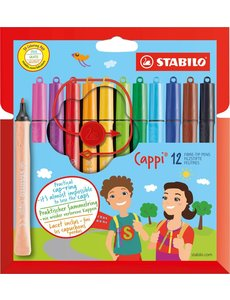 12 Stabilo Cappi viltstift in etui