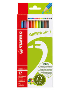 Stabilo 12 Stabilo Green colors in etui