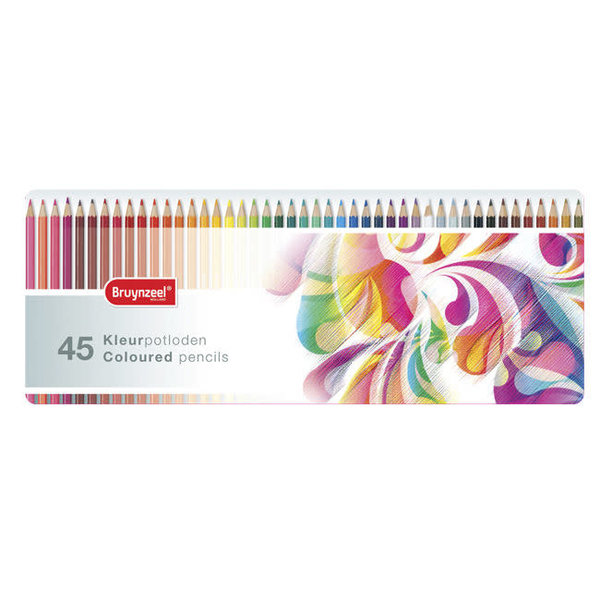 Bruynzeel 45 kleurpotloden in blik molen