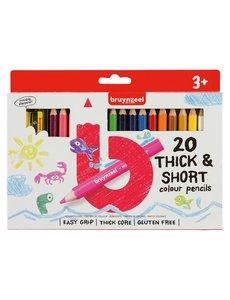 Bruynzeel 20 korte, dikke kleurpotloden met slijper