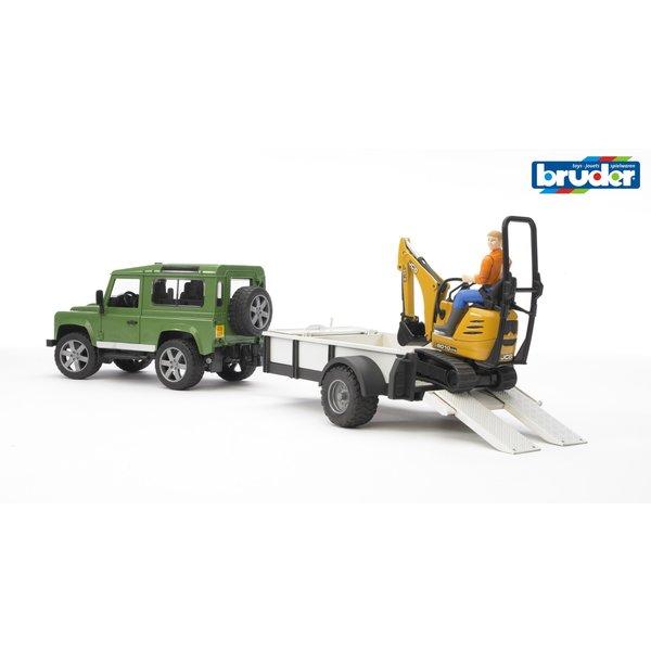 2593 - Land Rover Defender met aanhanger en JCB mini graafmachine