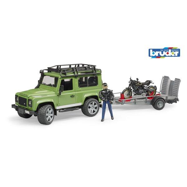 2598 - Land Rover Defender met aanhanger en Ducati motor en berijder