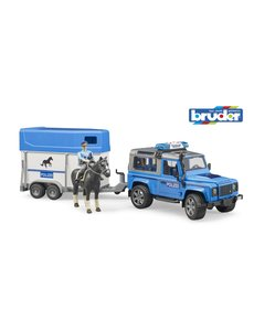 Bruder 2588 - Land Rover Defender politie en paardentrailer