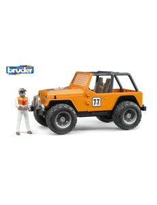 Jeep Cross Country Oranje met rally-rijder