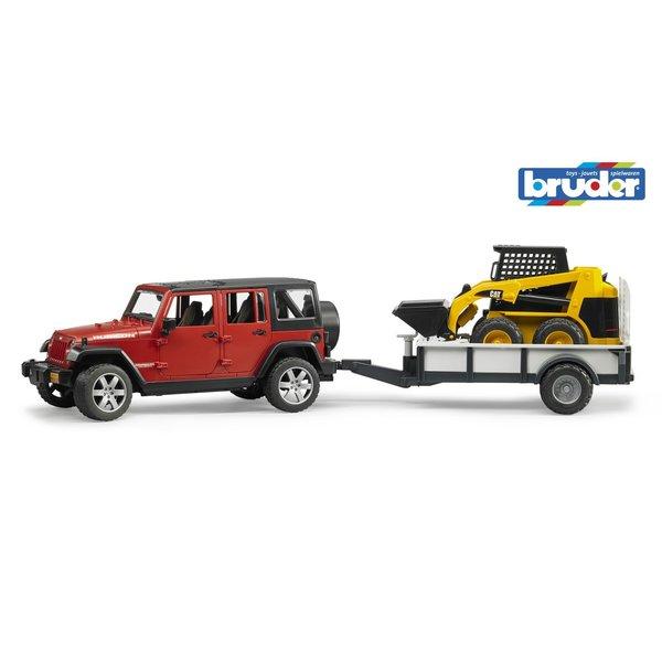 Bruder 2925 - Jeep Wrangler Unlimited Rubicon met aanhanger en Cat lader