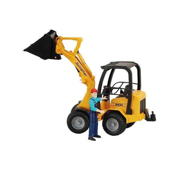 90388 - Schaeffer Compact lader geel met bestuurder