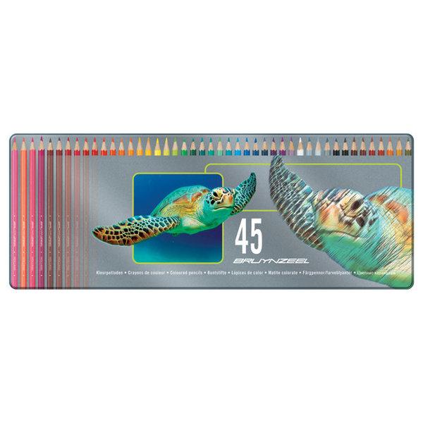 45 kleurpotloden in blik - schildpad