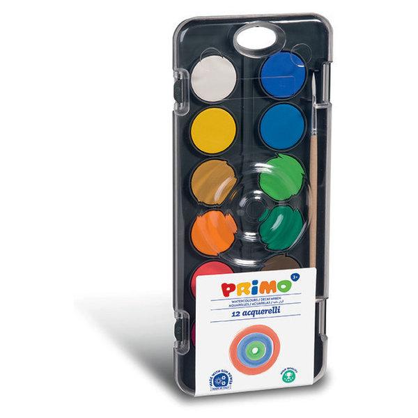 Primo Pro Waterverf tablet/penseel (12 kleuren)