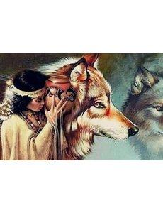 Diamond Painting Wolf met indiaan 40x50 cm
