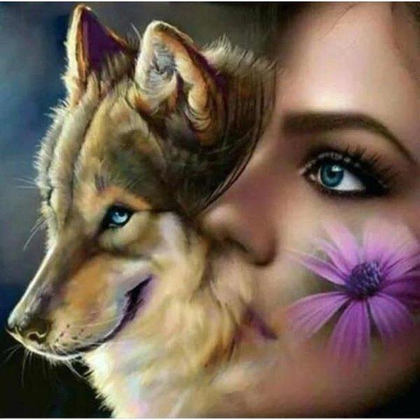 Diamond Painting Wolf met vrouw 40x40 cm