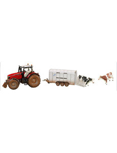8608 - Massey Ferguson met veetransportwagen