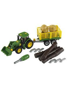 Klein 3906 - John Deere met voorlader en aanhanger voor hout en hooi