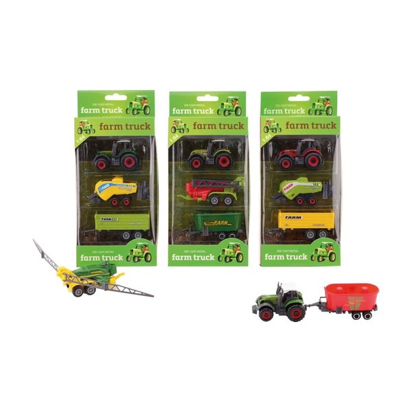 JohnToy Die-cast tractor, 3-delig, 4 assorti