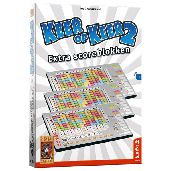 999 Games Keer op Keer 2 scoreblok level 1, 3 stuks