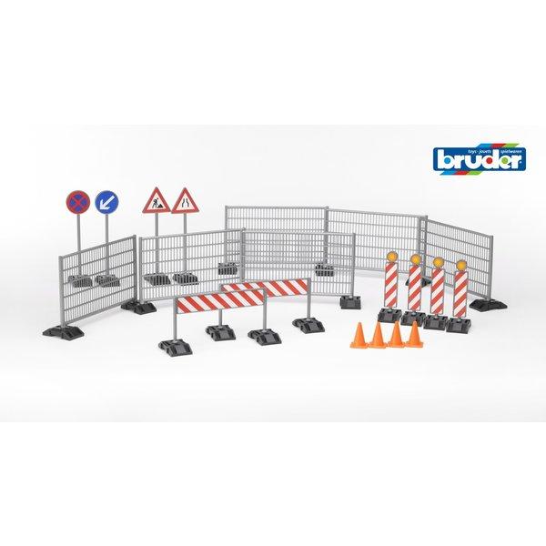 Bruder 62007 - Bouwplaatsset hekken met verkeersborden