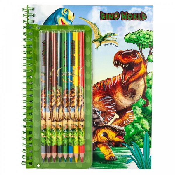 Depesche-TopModel Dino World kleurboek met kleurpotloden