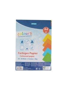 Gekleurd papier, 40 vellen A4, 80 gr.