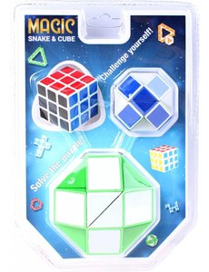 JohnToy Magische kubus en slang in blister - 3 stuks
