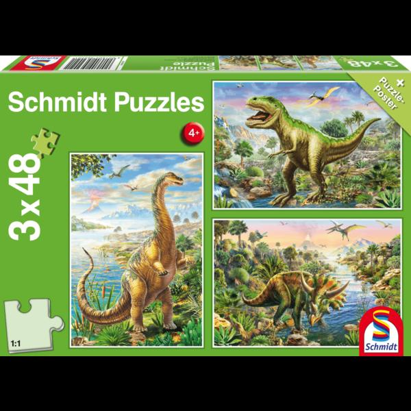 Schmidt Avontuur met dinosauriërs, 3x48 stukjes