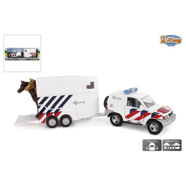 2-Play Politieauto met paardentrailer