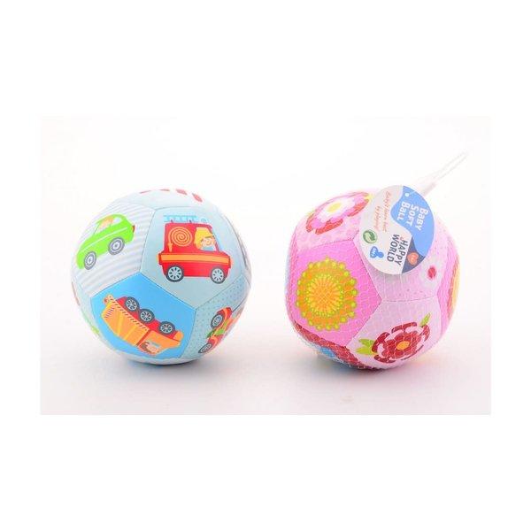 JohnToy Happy World Baby soft bal, blauw of roze