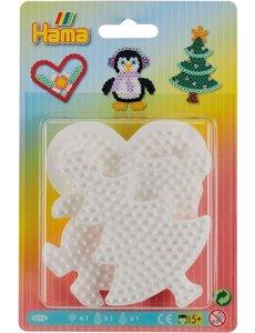 Hama Grondplaat 3 stuks boom pinguïn hart