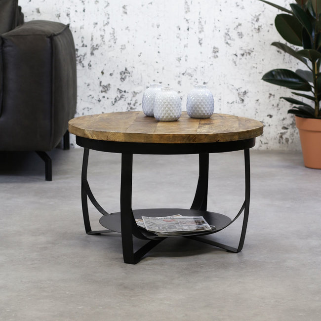 Dimehouse Oxis Table Basse Ø70 cm Industriel - Bois Massif