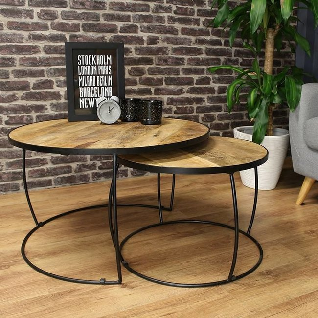 Dimehouse Alec Table Basse Industrielle Ø79 / 58 cm - Bois Massif Set De 2