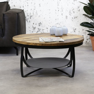 Dimehouse Oxis Table Basse Industrielle Ronde Ø90 cm - Bois Massif