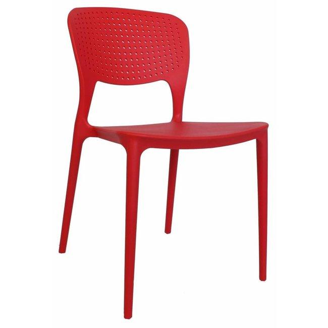 Dimehouse Nino Chaise De Jardin Rouge Moderne - Plastique