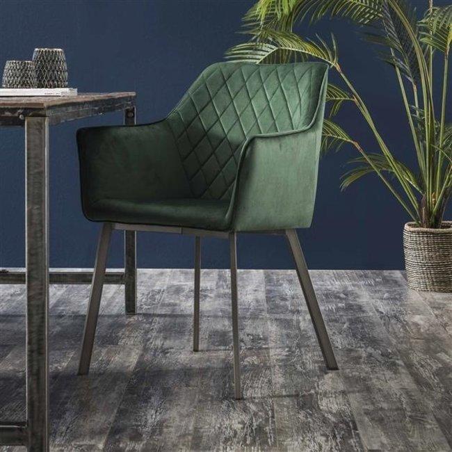 Dimehouse Diamond Chaise Salle A Manger Vert Industriel - Velvet