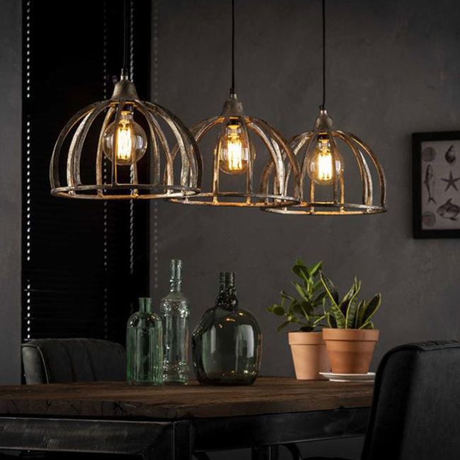 Dimehouse Rib Suspension Industrielle 3 Lampes Métal