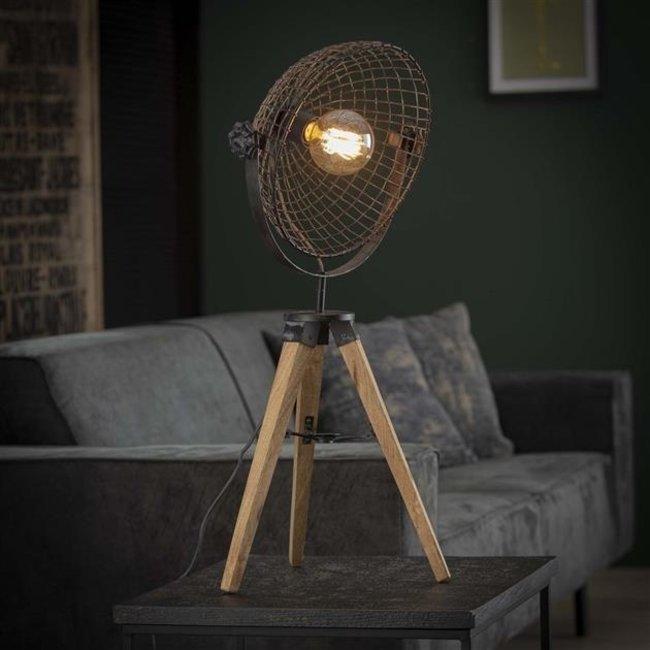 Dimehouse Duen Lampe De Chevet Industrielle Métal Bois