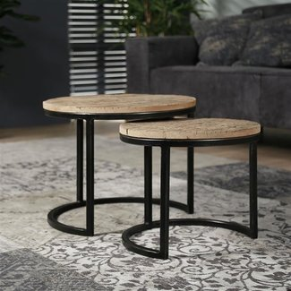 Dimehouse Liz Table Basse Ø50 / 40  cm Industriel - Bois