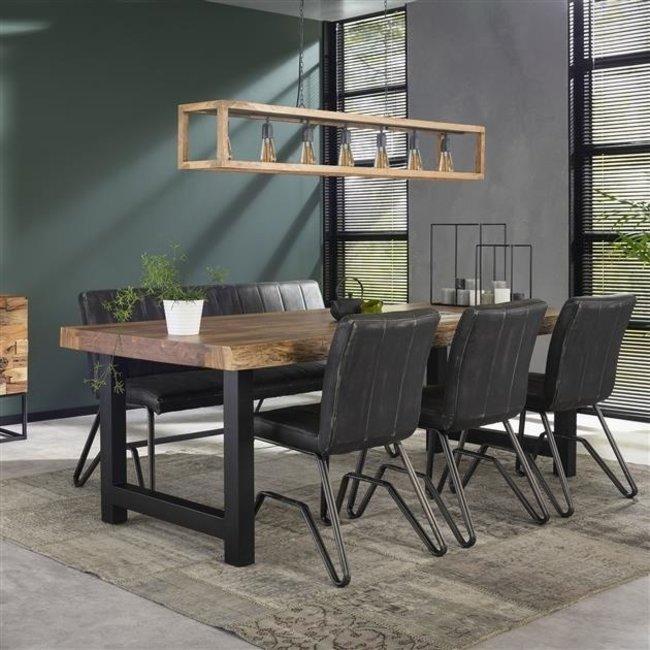 Eva Table Salle A Manger 165 x 85 cm Industriel - Tronc d'Arbre