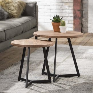 Dimehouse Brandy Table Basse Industriel - Bois Massif
