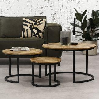 Tritan Table Basse Ø74 /55/40 cm Industriel - Bois Massif