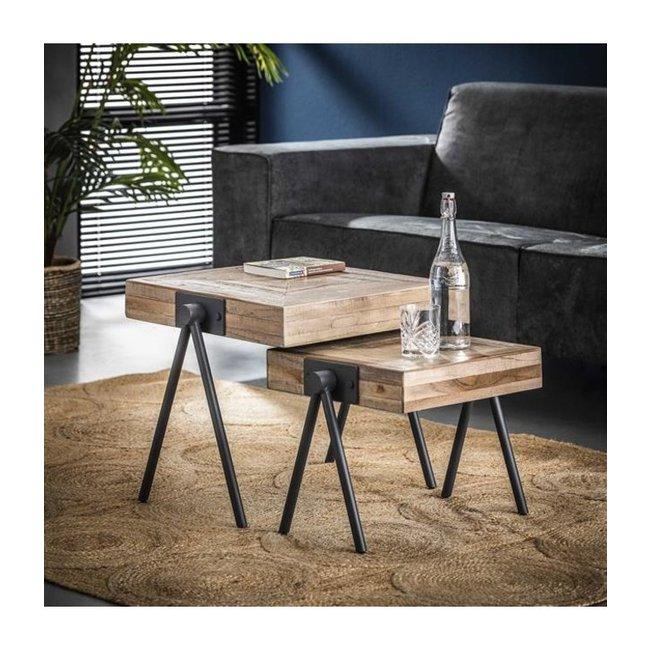 Robbie Table Basse 50/45 cm Industriel - Bois Teck Carré Set De 2