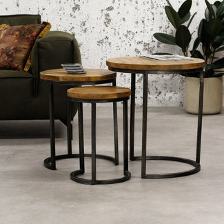 Dimehouse Gwen Table Basse Ø55 / 44 / 34 cm Industriel - Bois Massif