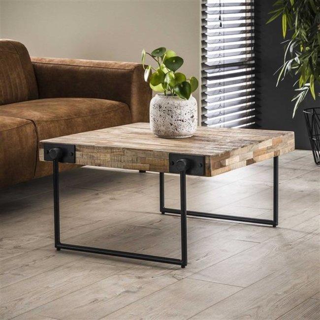 Dimehouse Sven Table Basse Industrielle Carré 80x80 cm Bois Teck
