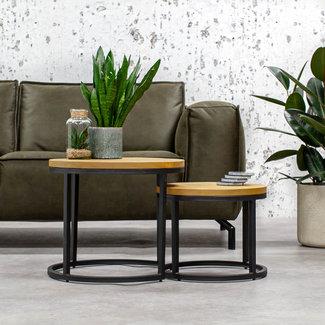 Dimehouse Lana Table Basse Bois Massif Double Plateaux Design Industriel