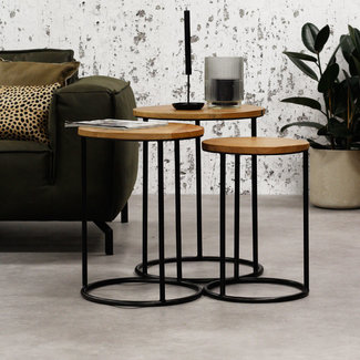 Dimehouse Gwen Table Basse Industrielle Ronde  Ø55 / 44 / 34 cm - Bois Massif Set De 3