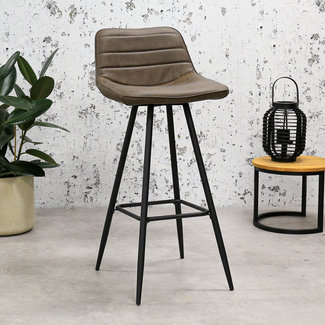 Dimehouse Kenton Tabouret De Bar Brun Industriel - Tissu