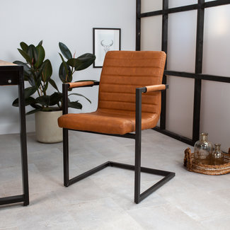Dimehouse Rodney Chaise Salle A Manger Marron Industriel - Simili Cuir