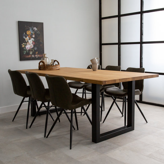 Dimehouse Sibérie Table À Manger Industrielle 180x90 cm Pieds-U