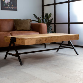 Dimehouse Avia Table Basse 120 x 70 x 40 cm Industriel - Bois Massif