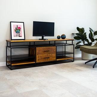 Dimehouse Pasadena Meuble TV 160 x 40 x 57 cm Industriel - Bois Massif